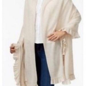 Charter club cashmere wool ruffle wrap NWT beige